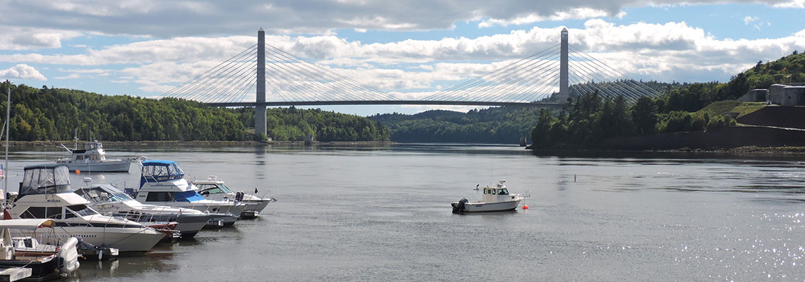 Penobscot Narrows Bridge and Fort Knox from Bucksport Maine